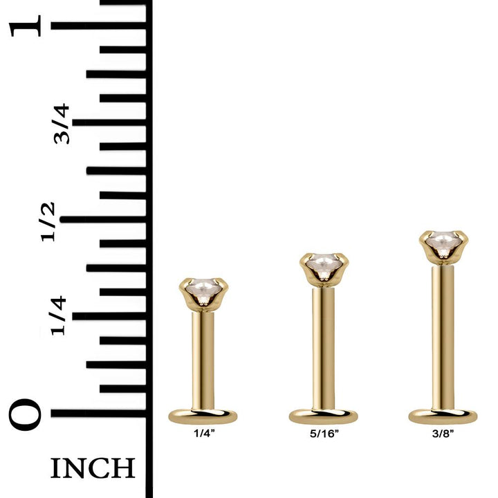 Length Options for CZ Low-Set 14K Gold Labret Flat Back Earring