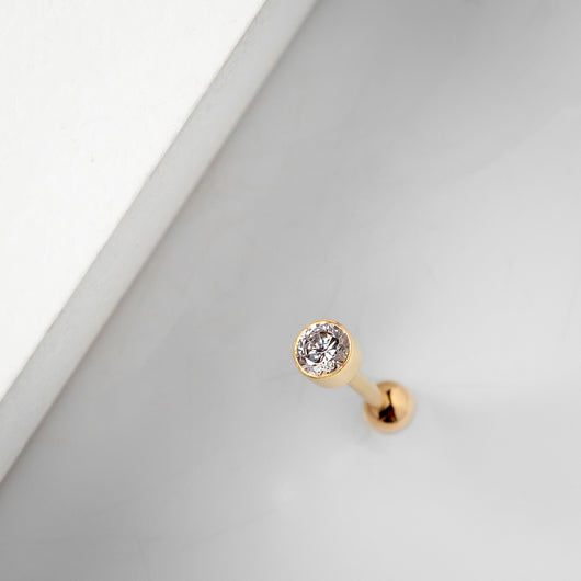 3mm Bezel-set Cubic Zirconia 14k Gold Cartilage Earring
