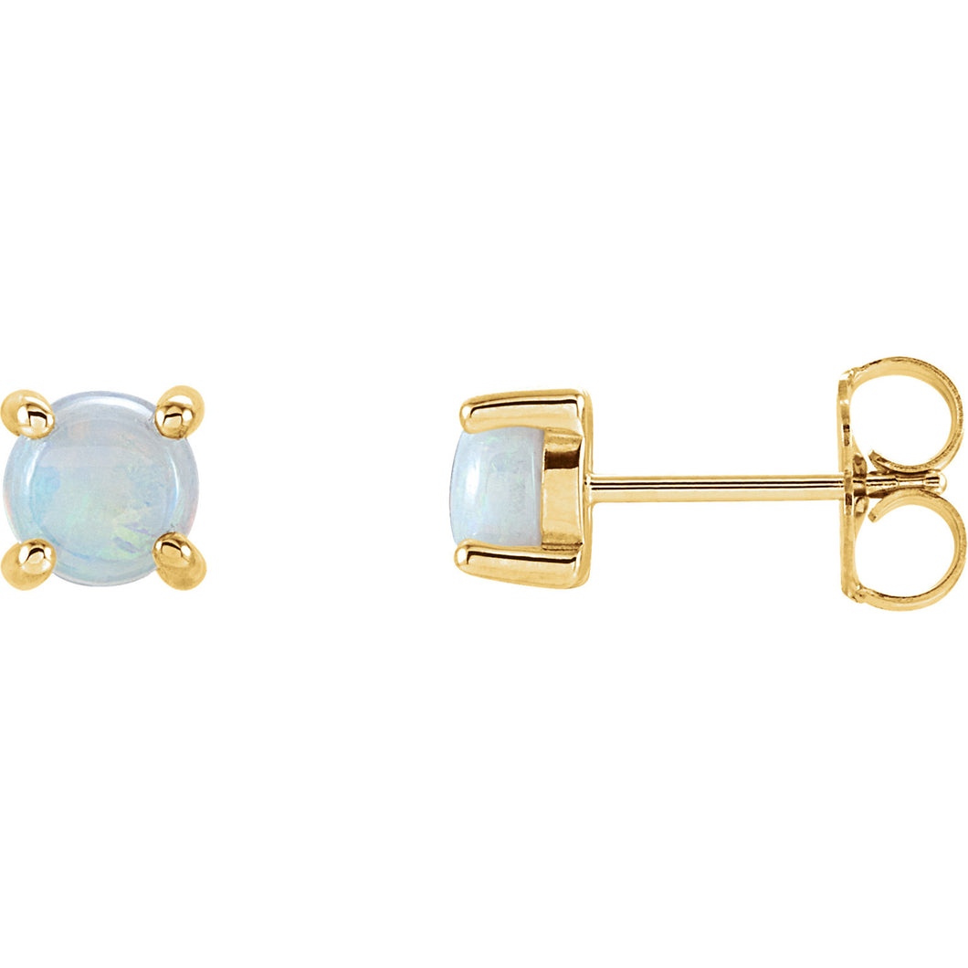 Opal Cabochon 14K Gold Stud Earrings