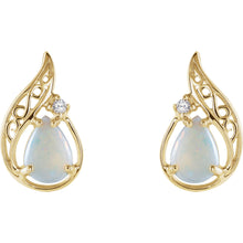 Opal & Diamond 14k Gold Earrings