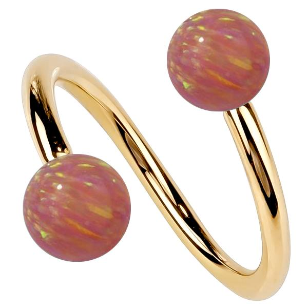 Yellow Gold Pink Opal 14k Gold Twister Spiral Barbell