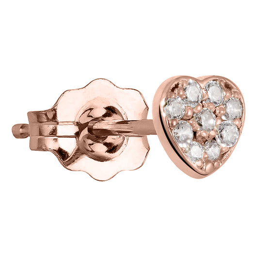 Diamond Paved Heart 14K Gold Earring
