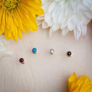 3mm Pearl Cabochon Lip Tragus Nose Cartilage Flat Back Earring