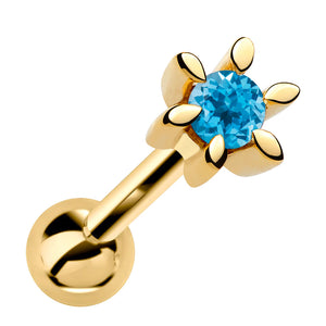 Petite Prong-set Flower Genuine Gemstone 14k Gold Cartilage Earring
