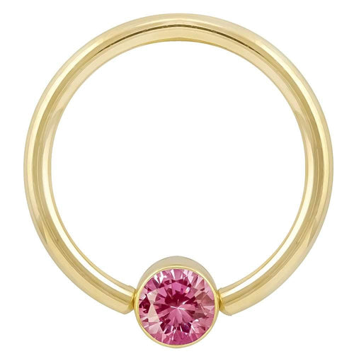 4mm Yellow Gold Pink Cubic Zirconia Round Bezel 14k Gold Captive Bead Ring
