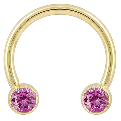 4mm Pink Cubic Zirconia Round Bezel 14k Gold Circular Barbell