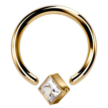 Yellow Corner Mount -  Gold Princess CZ  14k Gold Captive