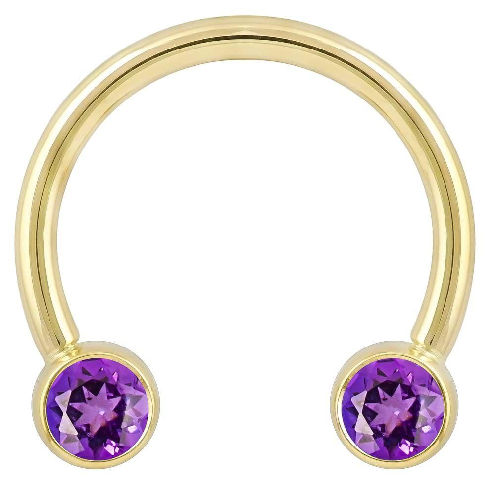 4mm Purple Cubic Zirconia Round Bezel 14k Gold Circular Barbell