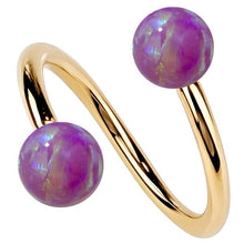 Yellow Gold Purple Opal 14k Gold Twister Spiral Barbell