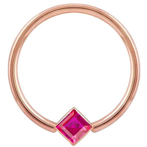 Rose Gold Red Cubic Zirconia Princess Cut Corner Mount 14k Gold Captive Bead Ring