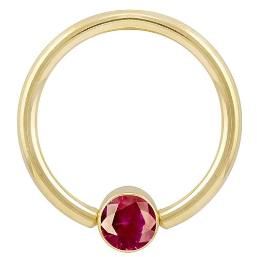 Yellow Gold Red Cubic Zirconia Round Bezel 14k Gold Captive Bead Ring