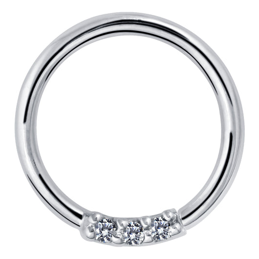 Three Diamonds Seamless Ring Hoop 14K Gold or Platinum