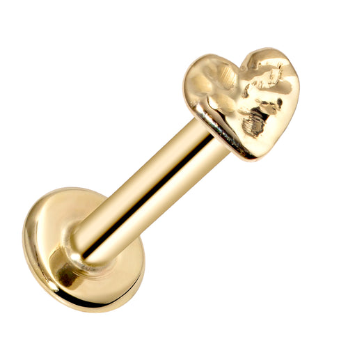Tiny Heart Artisan Hammered 14K Gold Labret Tragus Nose Cartilage Flat Back Earring