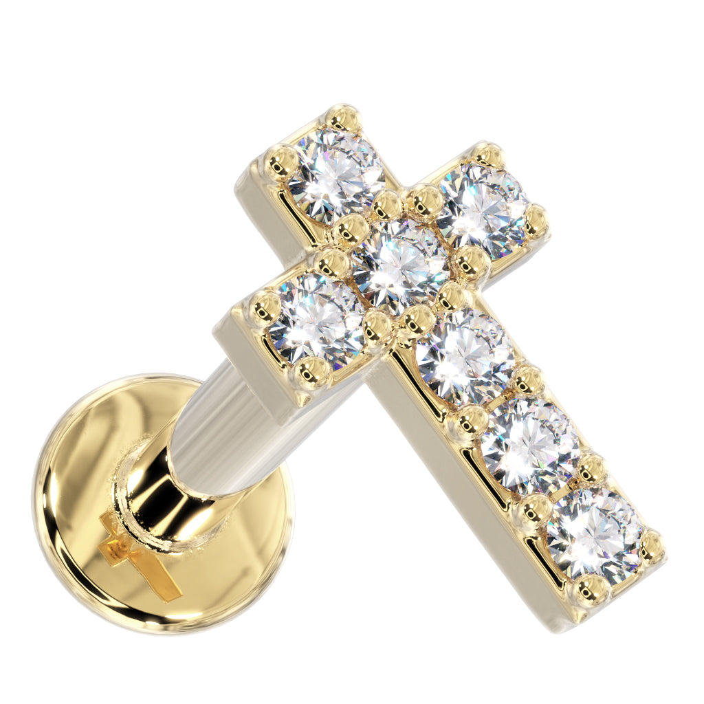 Yellow Gold Tiny Diamond Cross 14k Gold Flat Back Stud