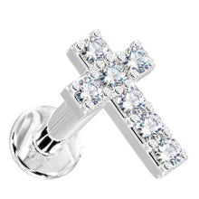 White gold Tiny Diamond Cross 14k Gold Flat Back Stud