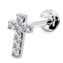 Tiny Diamond Cross 14k Gold Flat Back Stud