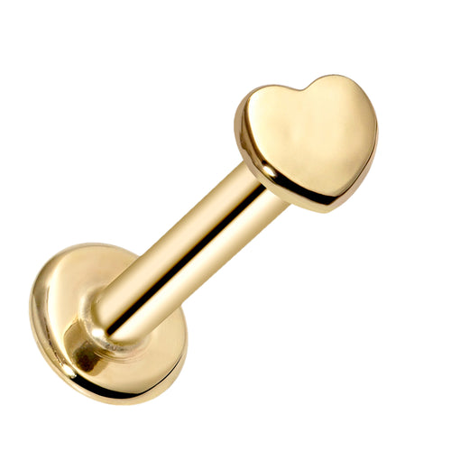 Tiny Heart Artisan Polished 14K Gold Labret Tragus Nose Cartilage Flat Back Earring