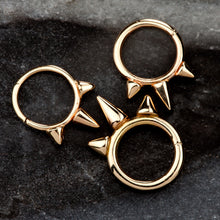 Triple Spike 14K Gold Seamless Ring