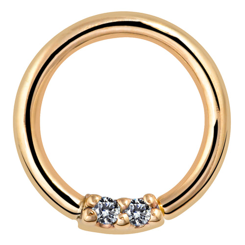 Two Diamonds Seamless Ring Hoop 14K Gold or Platinum