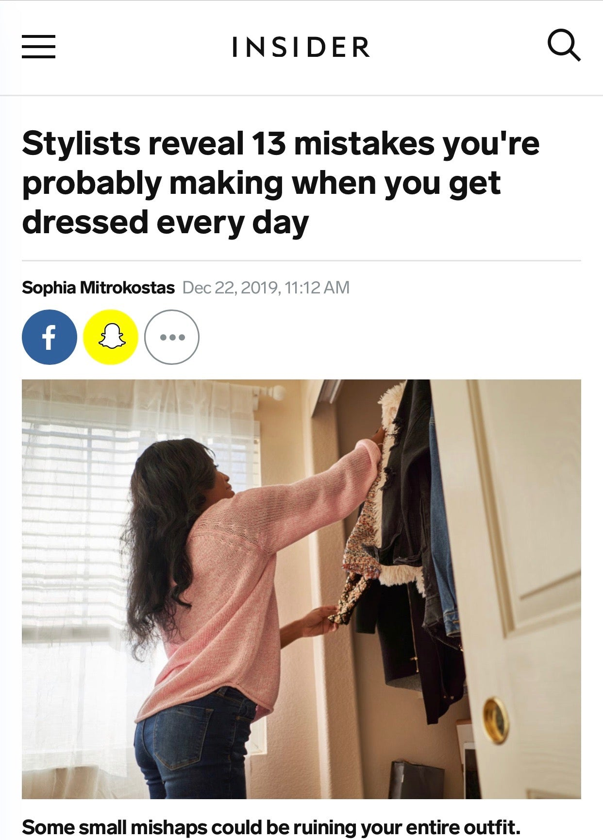 BUSINESS INSIDER: Stylists reveal 13 mistakes you're probably making when you get dressed every day