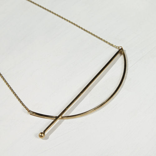 LM WHITE: Falling Arc Necklace