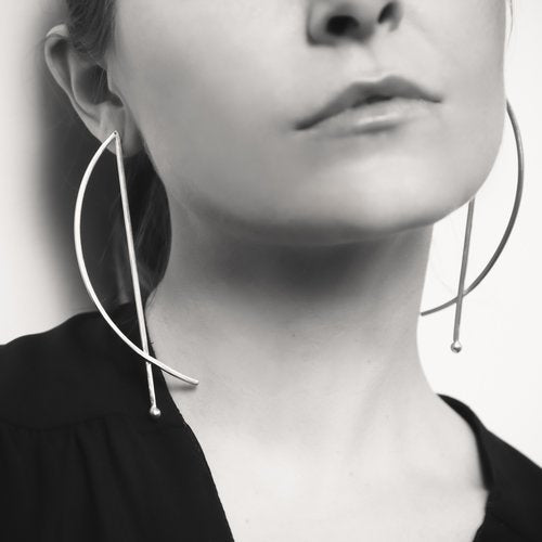 LM WHITE: Falling Arc Earrings
