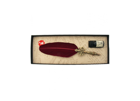 Fleur D'Lys Feather Quill and Ink Set - Burgundy