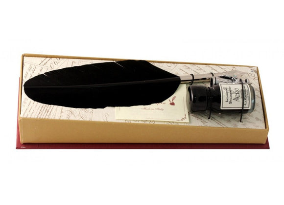 Small Feather Quill & Ink Set - Black