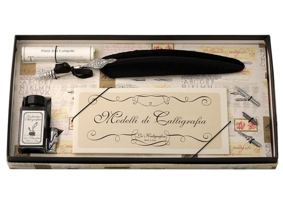 Feather Quill Calligraphy Set - Black