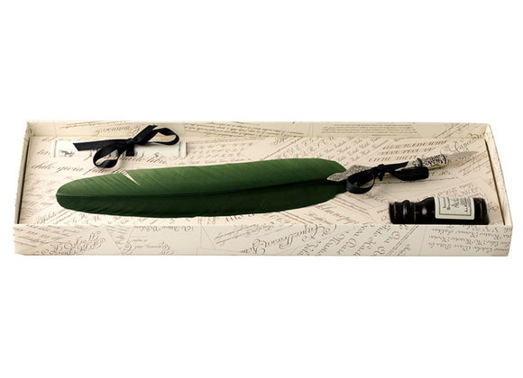 Pewter Feather Quill & Ink Set - Green