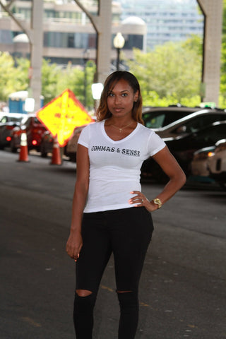 COMMAS & SENSE LOGO (LADIES V-NECK)