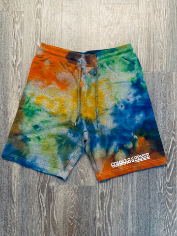 COMMAS & SENSE CUSTOM TIE DYE SWEAT SHORTS