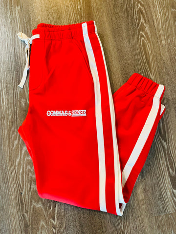 COMMAS & SENSE LOGO TRACK PANTS