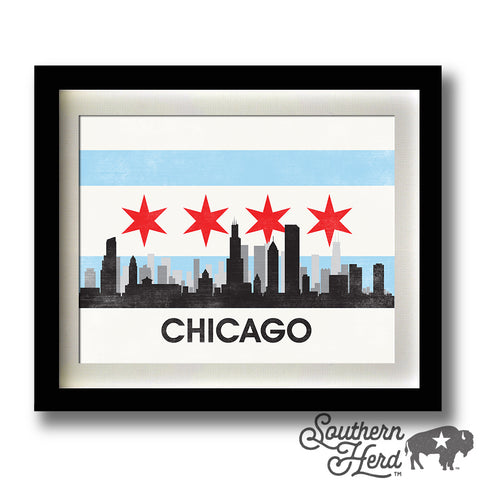Chicago Skyline City Flag