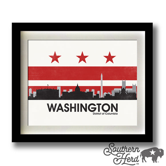 Washington DC Skyline City Flag