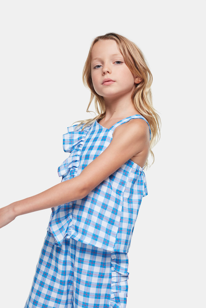 Checkered White and Blue Top with Ruffle