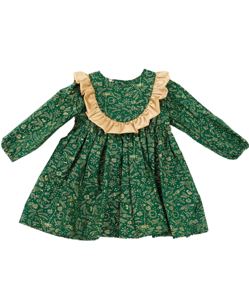 Christmas Green & Golden Dress