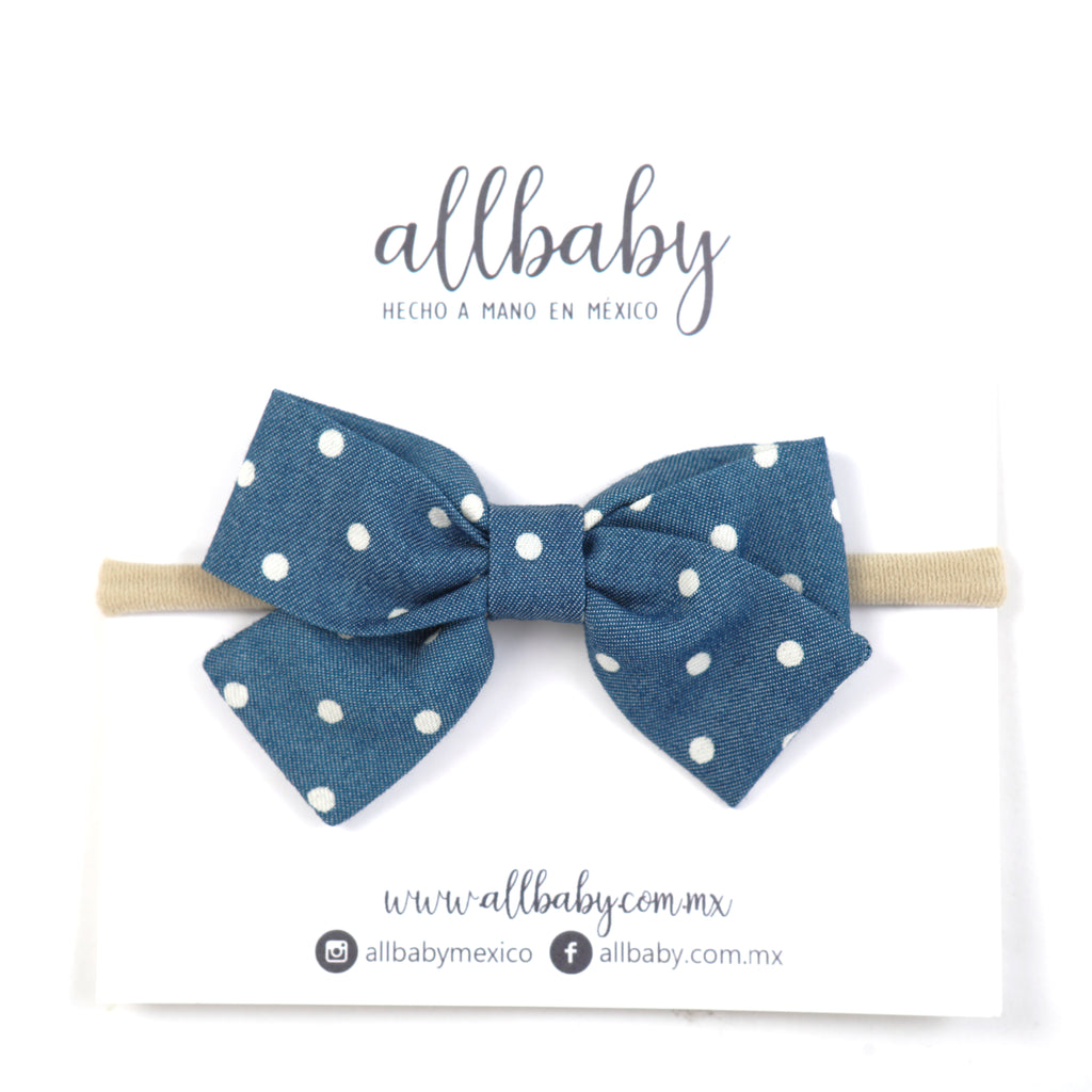 Classic Blue White Dots Mini Bow