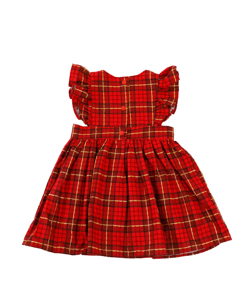 Red Squares Overall Dress