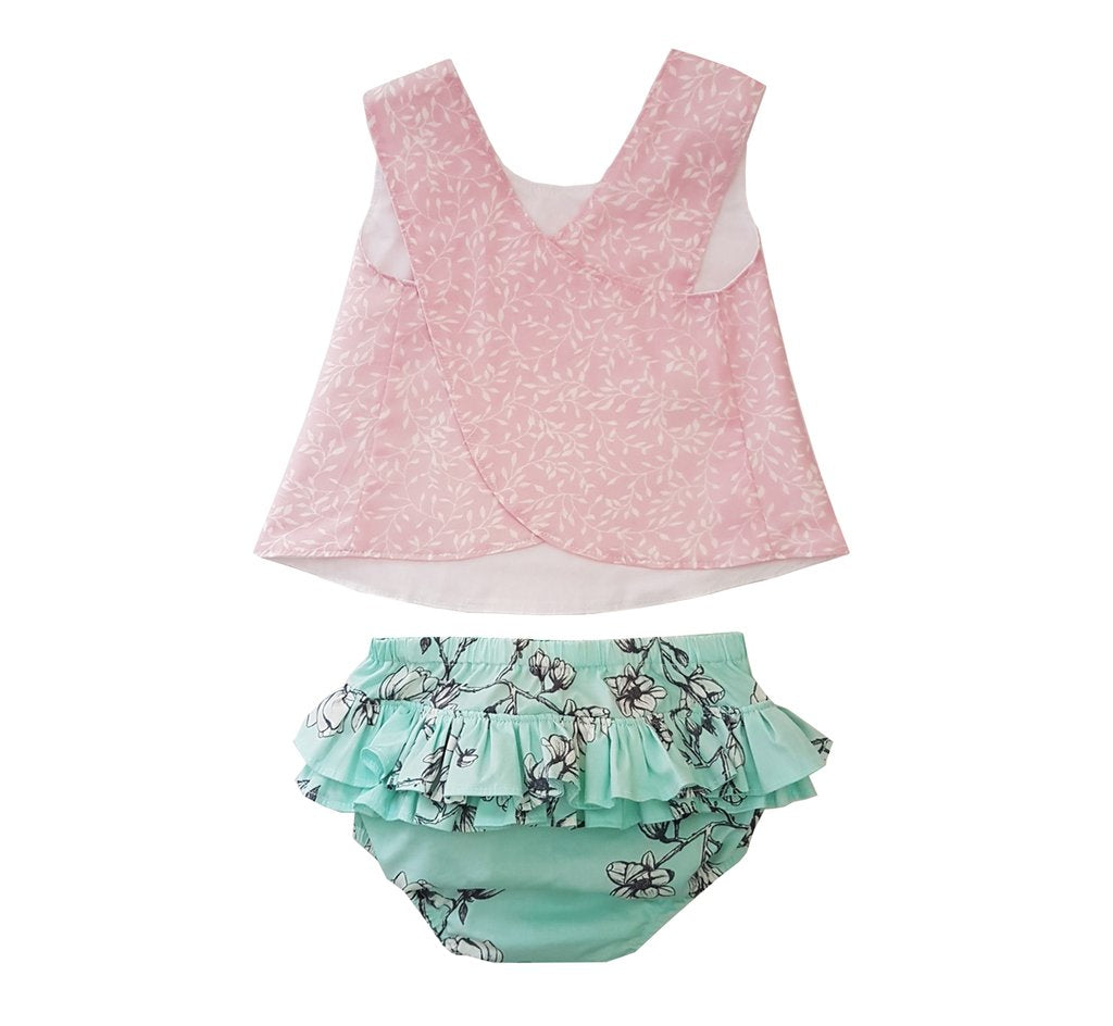 Bloomer & Pinny - Mint & Pink Leaves