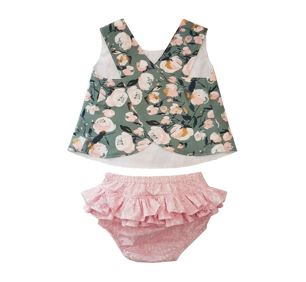 Bloomer & Pinny - Olive & Pink Leaves