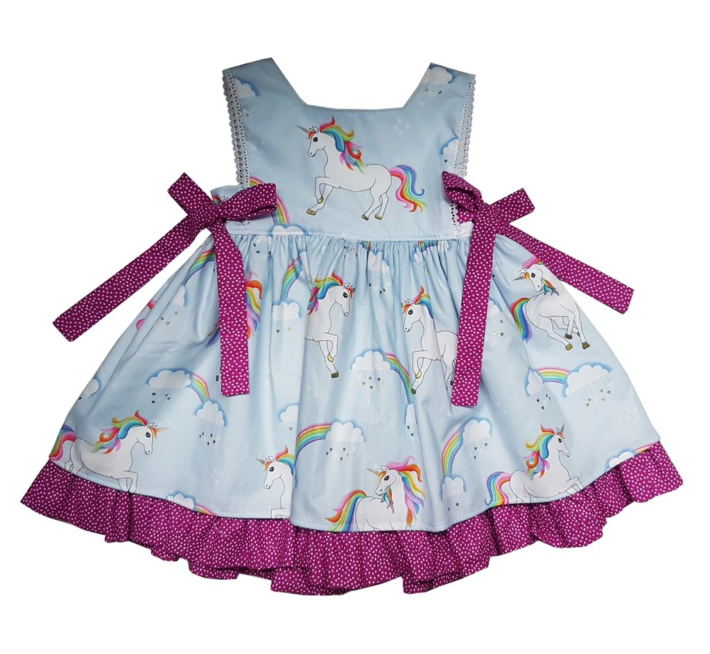 Unicorn Bow Blue Dress