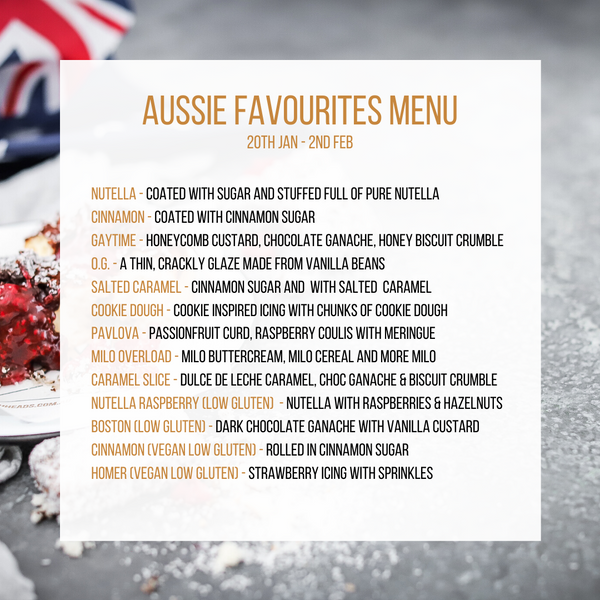 Aussie Favourites Menu in store at Doughheads