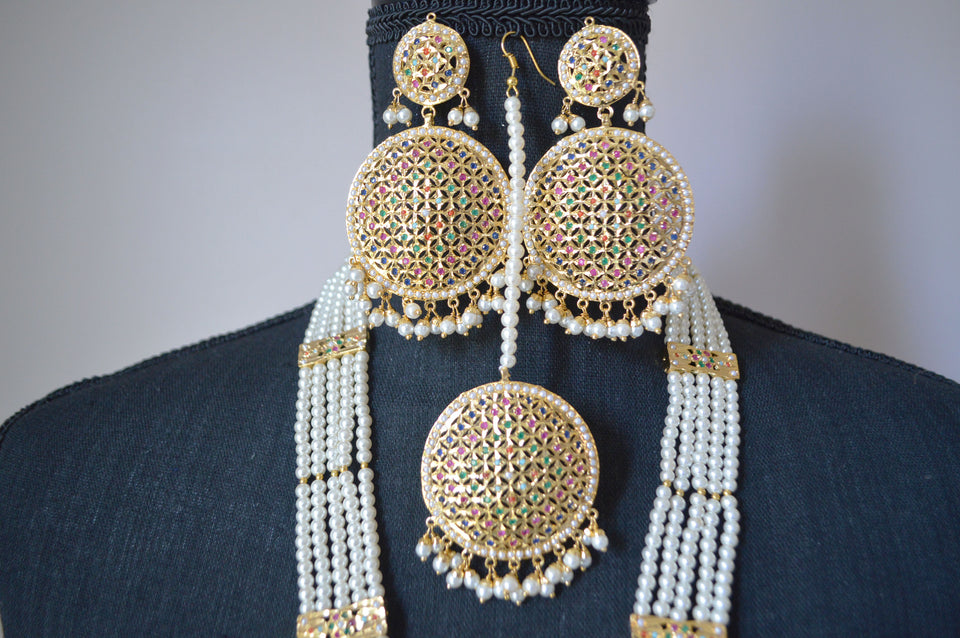 Necklace Set with Multi-color Diamante Stones