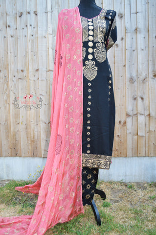 Customised Black Palazzo Suit (stitched)