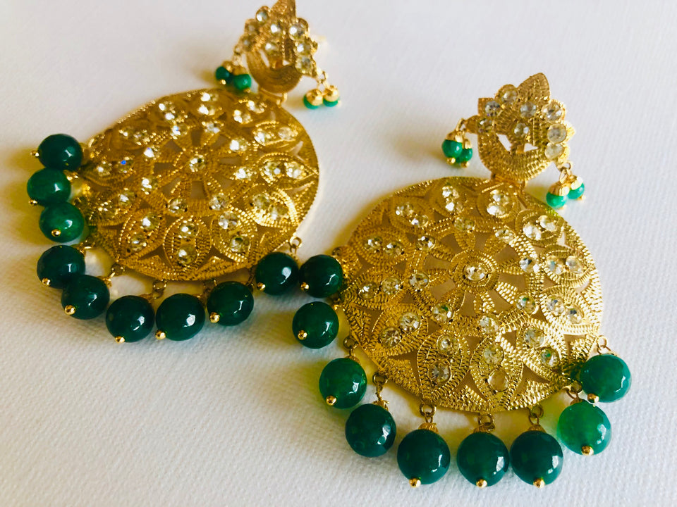 Green Color Earrings & Tikka