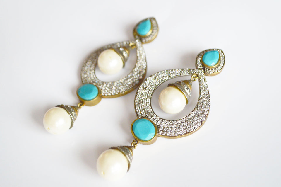 Turquoise Pearl Drop Earrings