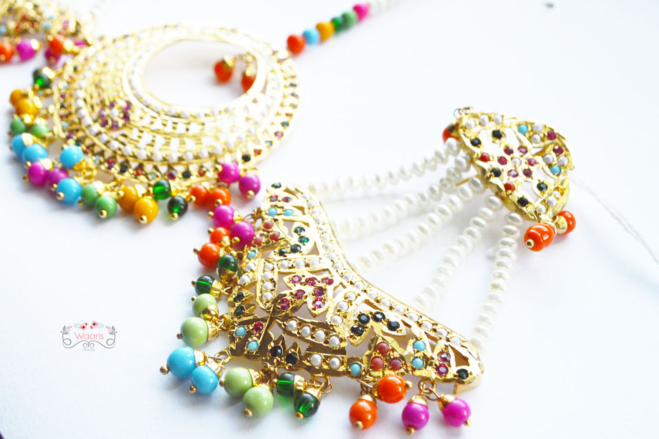 Earrings & Tikka with Multicolor Beads