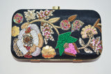 Black Embroidered Art Dupion Clutch
