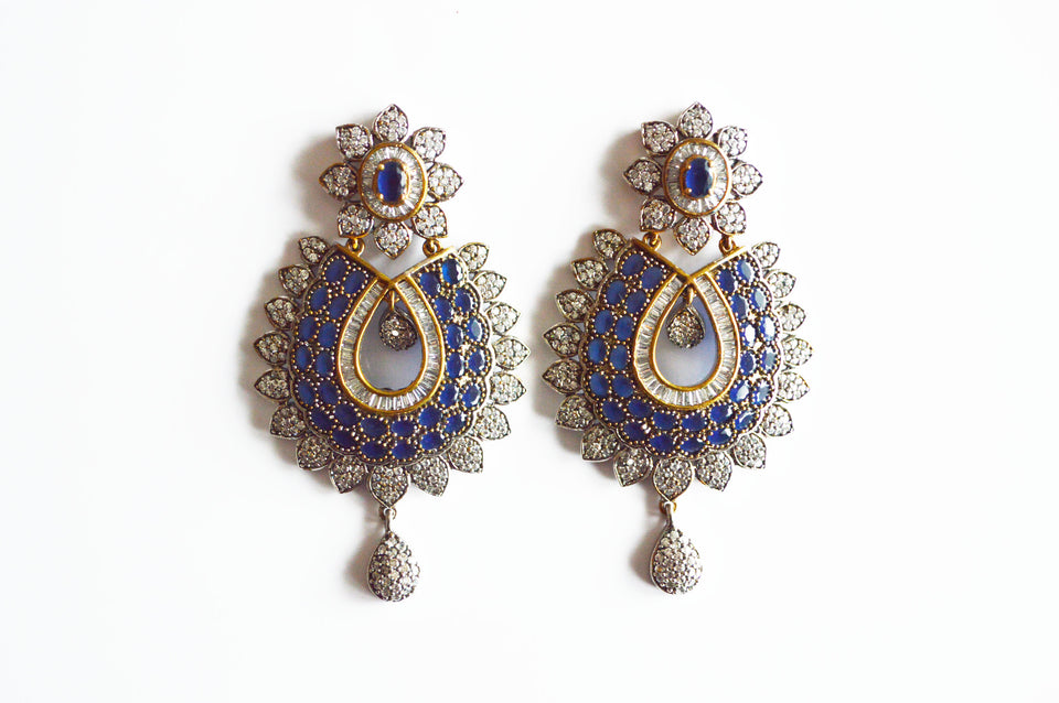 Dangler Earrings with Dark Blue & Clear White Stones